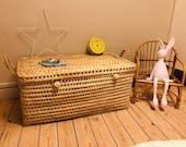 Wicker storage chest, toy trunk, wicker toy chest, rattan toy basket