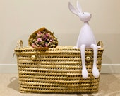 Wicker storage chest, toy trunk, wicker toy chest, rattan toy basket
