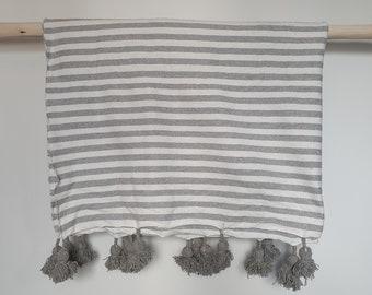 Cotton Moroccan Blanket Throw Pom Pom white and grey stripes