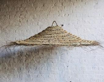 Doum pendant lamp in braided straw parasol shape