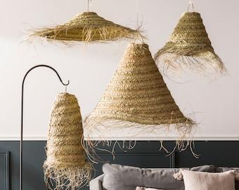 Wicker lampshade, Rattan lamp shade, Wicker pendant lamp, Straw chandelier, straw hanging light, Moroccan hanging lamp, marrakesh decoration