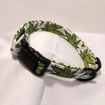Marijuana Pot Leaf 420 Dog Collar, Adjustable Custom Printed Fabric Pet Collars Mary Jane Cannabis Themed Dog Collars