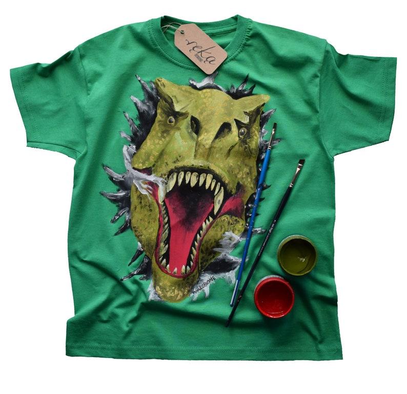 Alternative clothing and hand painted t shirt Dinosaur shirt artist t-shirt for boy,