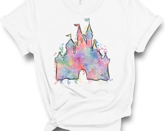 0811fc3e Disney Watercolor Castle Shirt - Disney Tee - Women's Shirt - Castle Tees -  Mickey Shirts