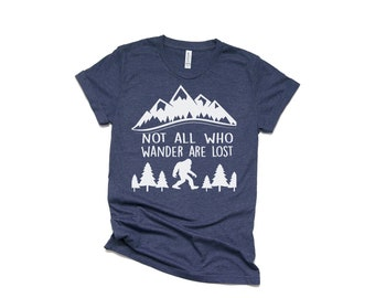 b818a21de Sasquatch Not All Who Wander Are Lost Shirt - Men's Shirt - Mr. Mom Shirt -  Bearded Men Tees - Dad Shirts