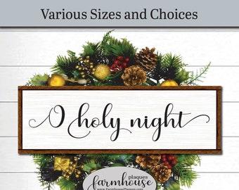 O Holy Night Framed Wood Wall Art | Farmhouse Decor Signs And Plaques |  Nativity Scene, Winter Decor, Holiday Decor, Christmas Wall Art