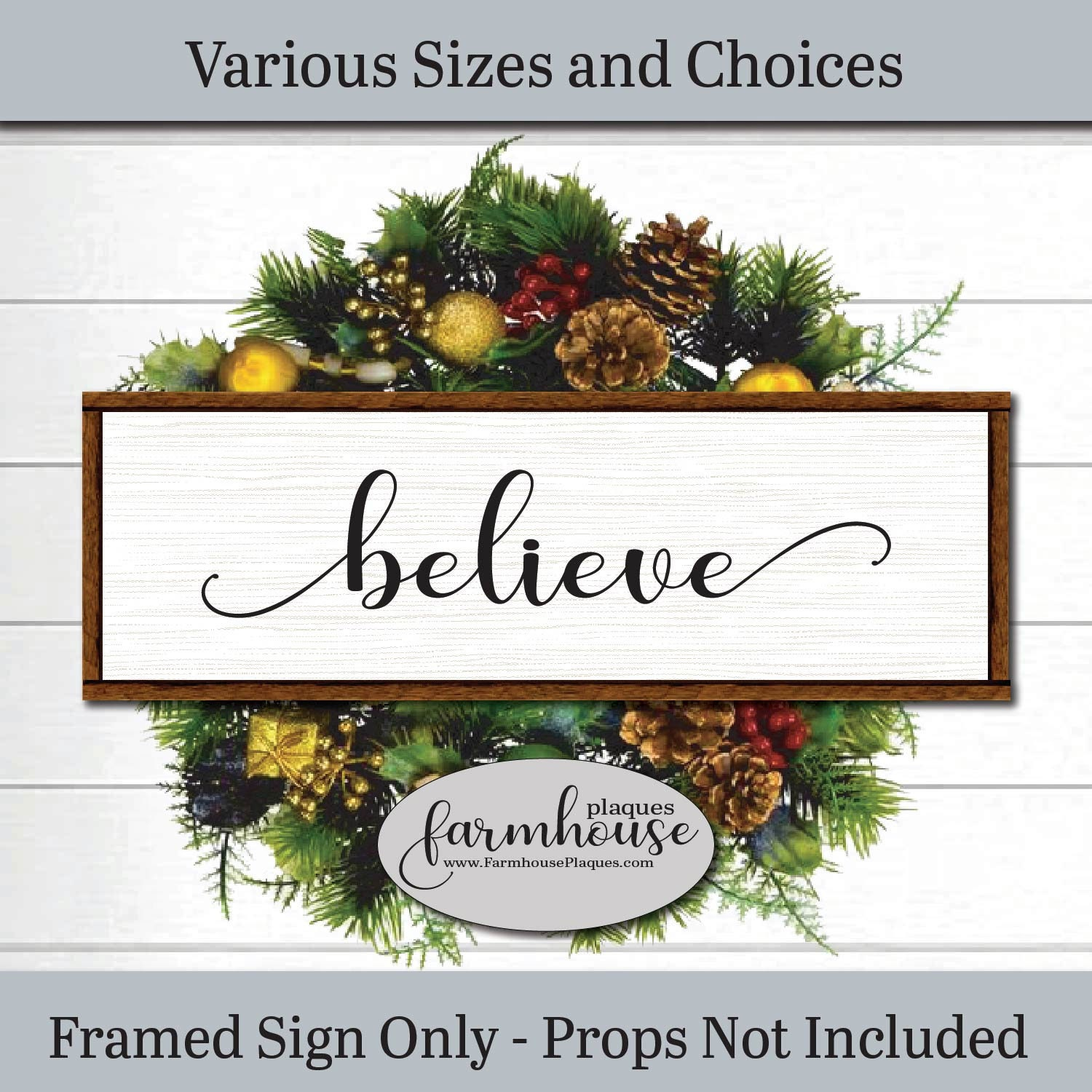 Beautiful Gift for Her Believe the Magic of Christmas Gray- Rustic Sign Farmhouse Decor Housewarming Gift Faux Metal Vintage Sign
