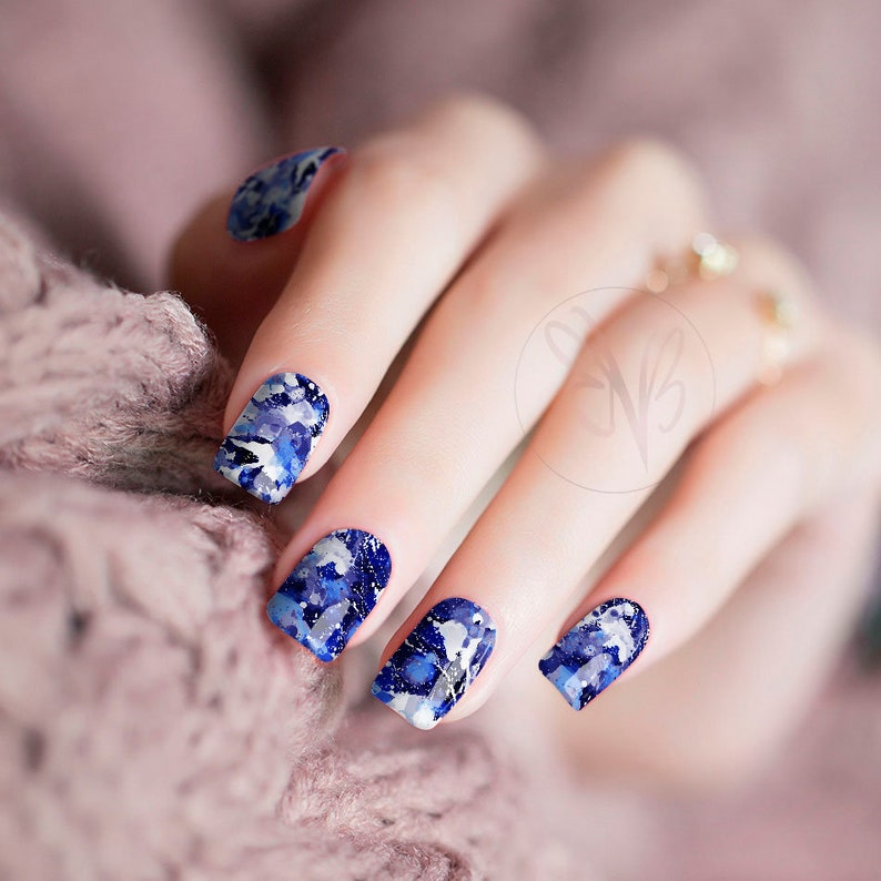 Blue Paint Splatter Nail Polish Wraps | Etsy