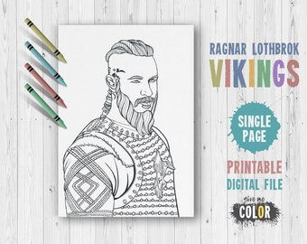 Vikings TV Show Ragnar Lothbrok King Draw To Color Coloring Page For Adults Printable PDF Illustrations Of Lodbrok Poster