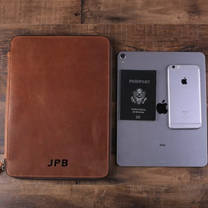 iPad Pro Passport Holder with Monogram Document Organizer Unique Groomsmen Gift Large Personalized Leather Travel Wallet Wedding Gift