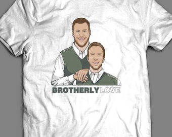 859fbbbd4 Philly s Carson Wentz and Nick Foles Inspired Brotherly Love T-Shirt   High  Quality T-Shirt Many Colors   Sizes S-XXXXL