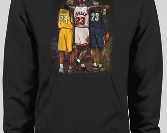 3b4202728b3 Kobe Mj and LeBron Pass the Torch Inspired Basketball Hoodie * High Quality  DTG hoodie Many Sizes S-XXXL