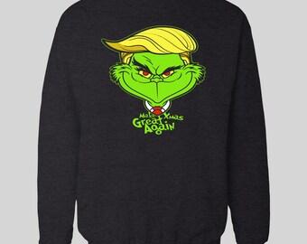 trump make xmas great again christmas sweatshirt high quality dtg sweatshirt many sizes s xxxl - Grinch Ugly Christmas Sweater