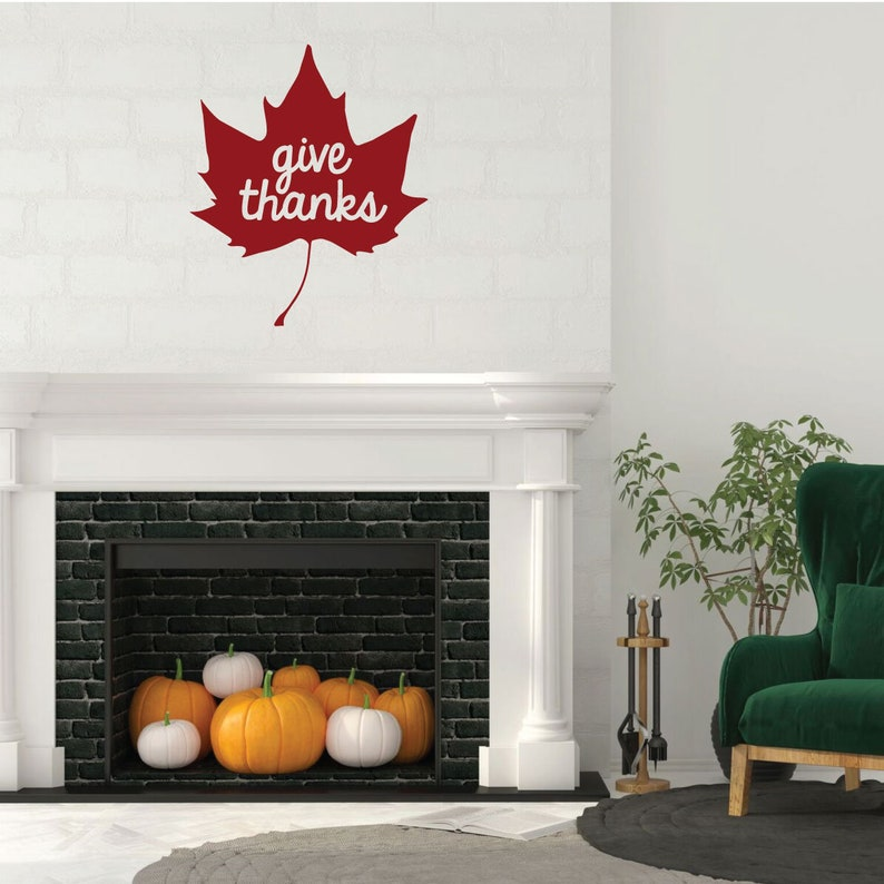 Vinyl Maple Leaf Art for Home Decor Bedroom or Fall Decoration Give Thanks Living Room Thankful Wall Decal Quote