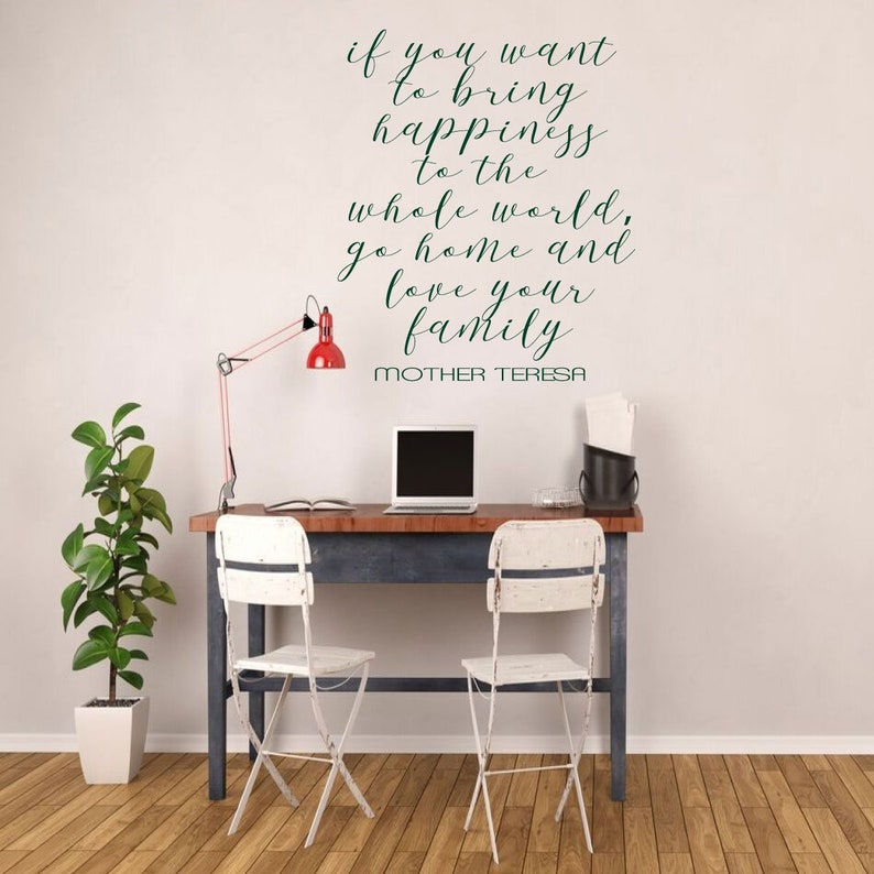 Windows Family Love Quote Mother Teresa Vinyl Lettering Bring Happiness to the Whole World Peel and Stick Adhesive Sticker for Walls