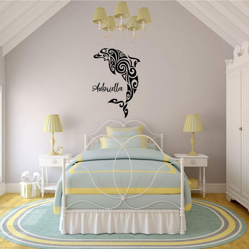 Vinyl Dolphin Silhouette Personalized Dolphin Wall Decal Boys and Girls Bedrooms Ocean Themed decor