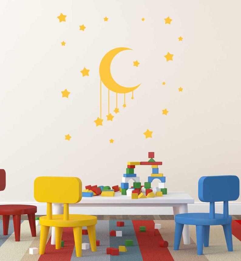 Wall Vinyl Decals Children/'s Playrooms Vinyl Decoration Moon and Stars Baby Room Bedroom Vinyl Decals Children Room Decor