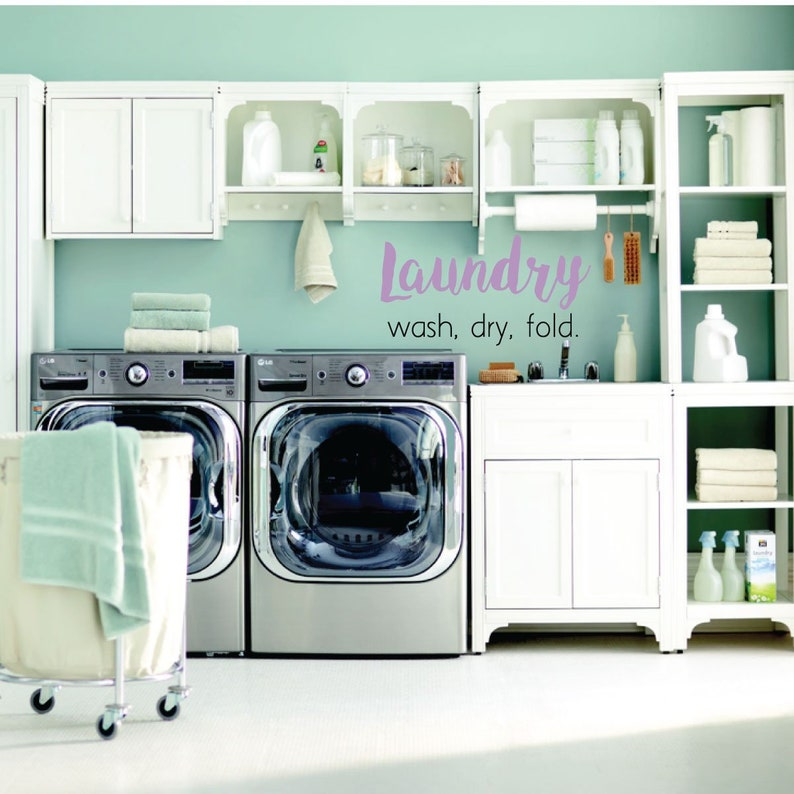 Dry Removable Vinyl Sign for Home Decor Laundry Room Wall Decal Fold Wash