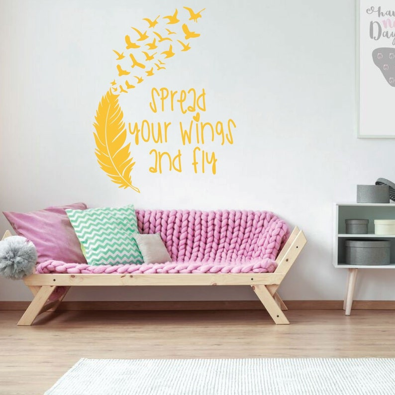 Girl/'s Bedroom Wall Decal Spread Your Wings And Fly Vinyl Decor for Playroom or Children/'s Room Decoration