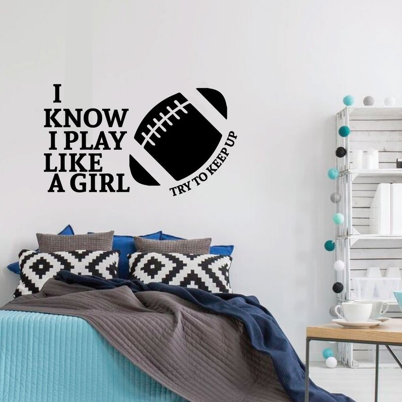 football wall decal play like a girl vinyl sticker for | etsy