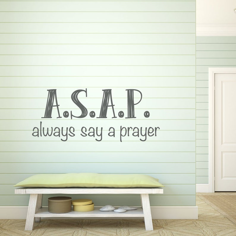Church Decoration Motivational Wall Sign Prayer Wall DecalsASAP,Always Say a Prayer Religious Vinyl Wall Decal for Home Decor