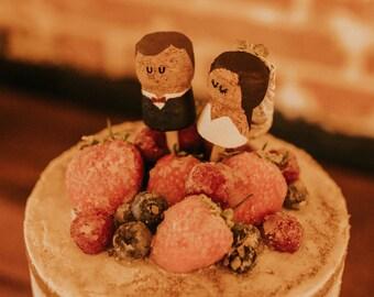 Wedding Cake Topper   Alternative Wedding Cake Topper   Boho Wedding Cake Topper   Cork Cake Toppers   Bride and Groom Cake Toppers  