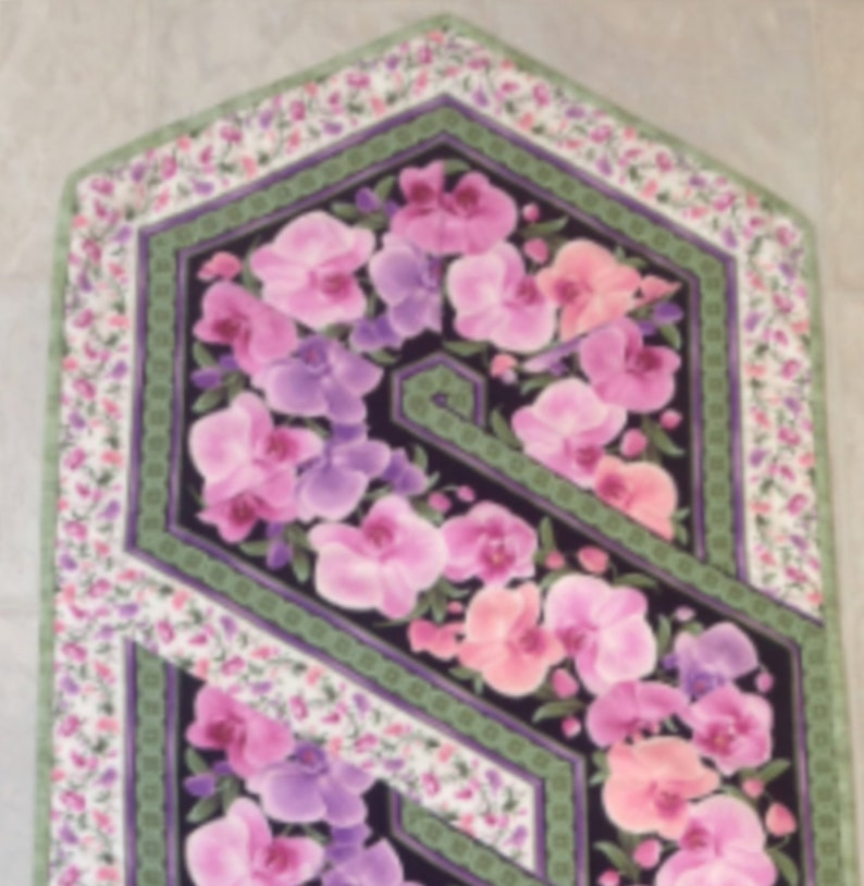 Quilted Table Runner Home Decor Quilts for Sale Floral Decor Christmas Gift Orchid Table Runner Pink Swirl Table Runner