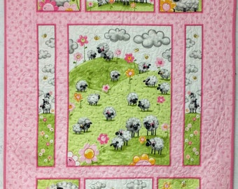 Lamb Panel Quilt, Baby Quilt, Handmade Quilts for Sale, Nursery Decor, Baby Shower Gift, Baby Decor, Birthday Gift, Christmas Gift