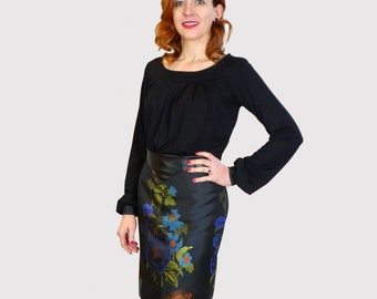 05fc8068d8 MISS BLOOMING pencil skirt, tightrope elegant retro skirt, 1930s style,  black, floral pattern, pencilskirt, enclosure, fake leather
