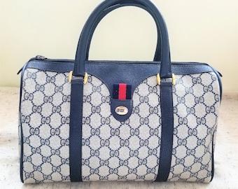 22ebdc79937 Vintage Gucci Navy Boston Bag