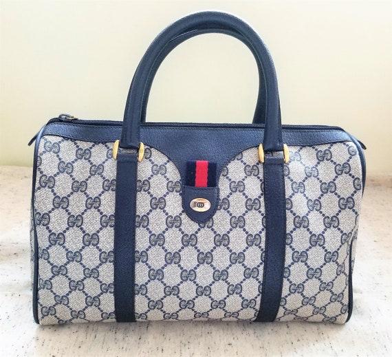 Vintage Gucci Navy Boston Bag/Monogram/Ophidia/Sh… - image 1