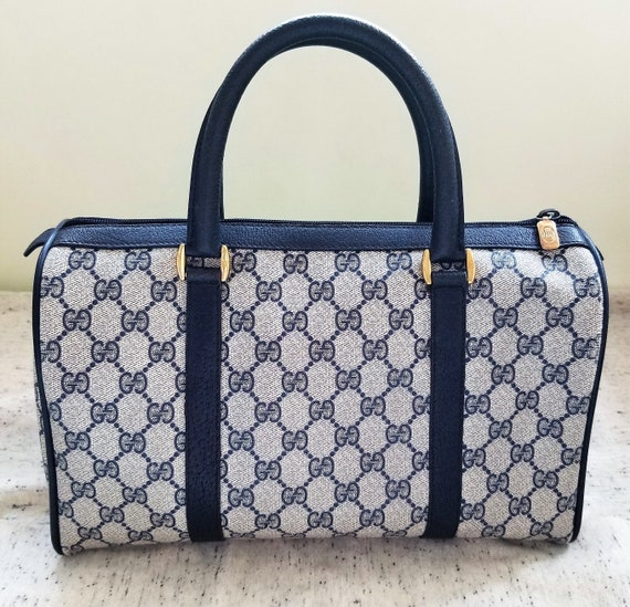 Vintage Gucci Navy Boston Bag/Monogram/Ophidia/Sh… - image 2