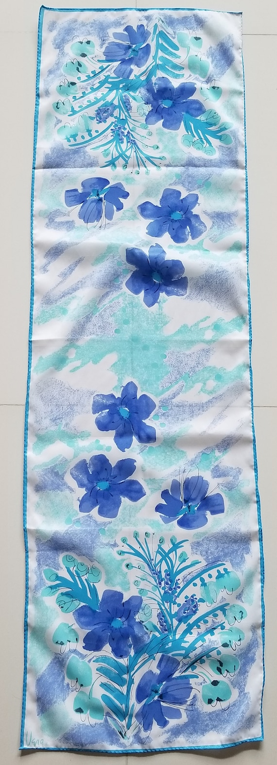 Vintage Vera Neumann Blue Floral Rectangle Scarf