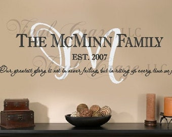 Personalized Family Last Name, Year and Motto/Saying/Names - Vinyl Wall Decal/Gift v1