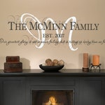 Family Name Wall Decal with Personalized Name, Year and Saying/Motto
