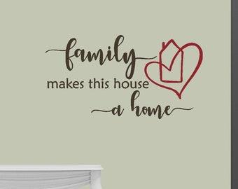 Family makes this house a home - Home Décor - vinyl wall decal vinyl wall art vinyl sticker love home décor, home sweet home