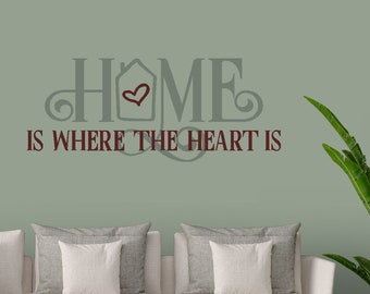 Home is where the heart is - Entryway Décor - Living Room Décor - vinyl wall decal vinyl wall art vinyl sticker home décor