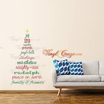 Christmas Tree subway text - Vinyl Wall Decal Holiday Season Joy Elves Santa Jingle Stocking Mistletoe Naughty Rudolph Peace Friends Family
