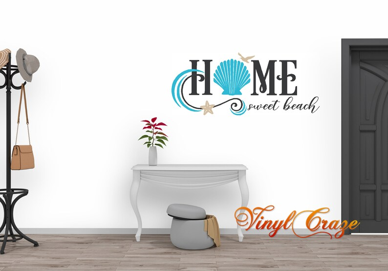 Home Sweet Home Saying Vinyl Wall Art Decal Beach theme image 0