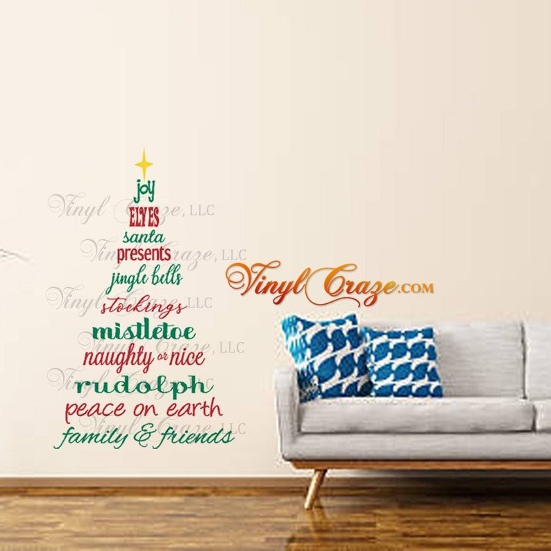 Christmas Tree subway text lettering  Vinyl Wall Art Decal image 0