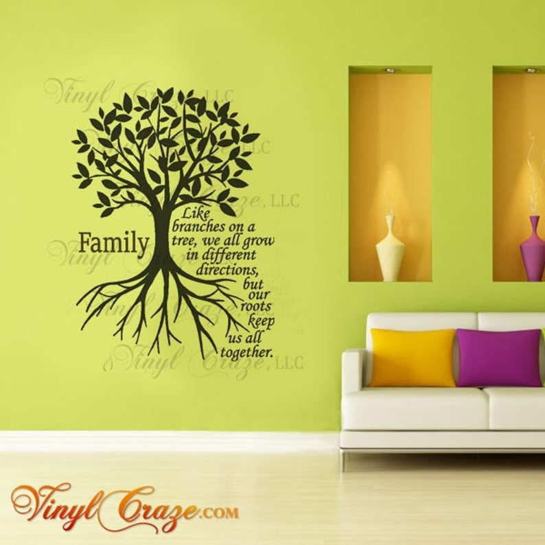 Family  Like branches on a tree  Saying/Quote  Vinyl Wall image 0