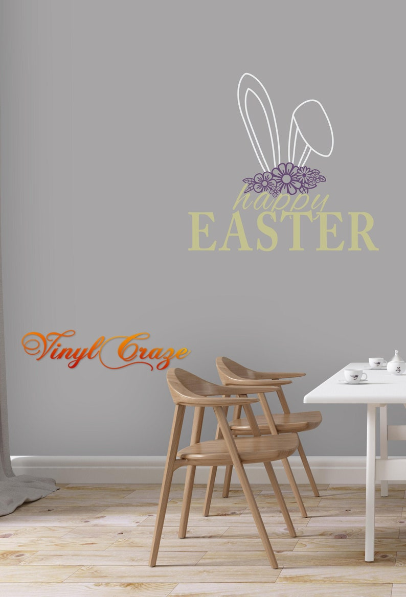 Happy Easter with bunny ears & flowers  Vinyl Decal wall image 0