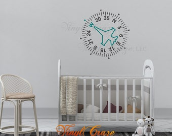 Airplane Compass Air Fighter Compass Image Vinyl Wall Decal Aviation Decal Child Bedroom Home Décor Decal Wall Art