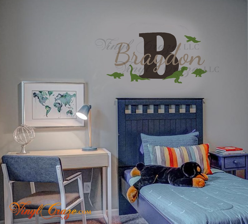 Dinosaur themed Personalized Boy GIrl Name  Vinyl Wall image 0