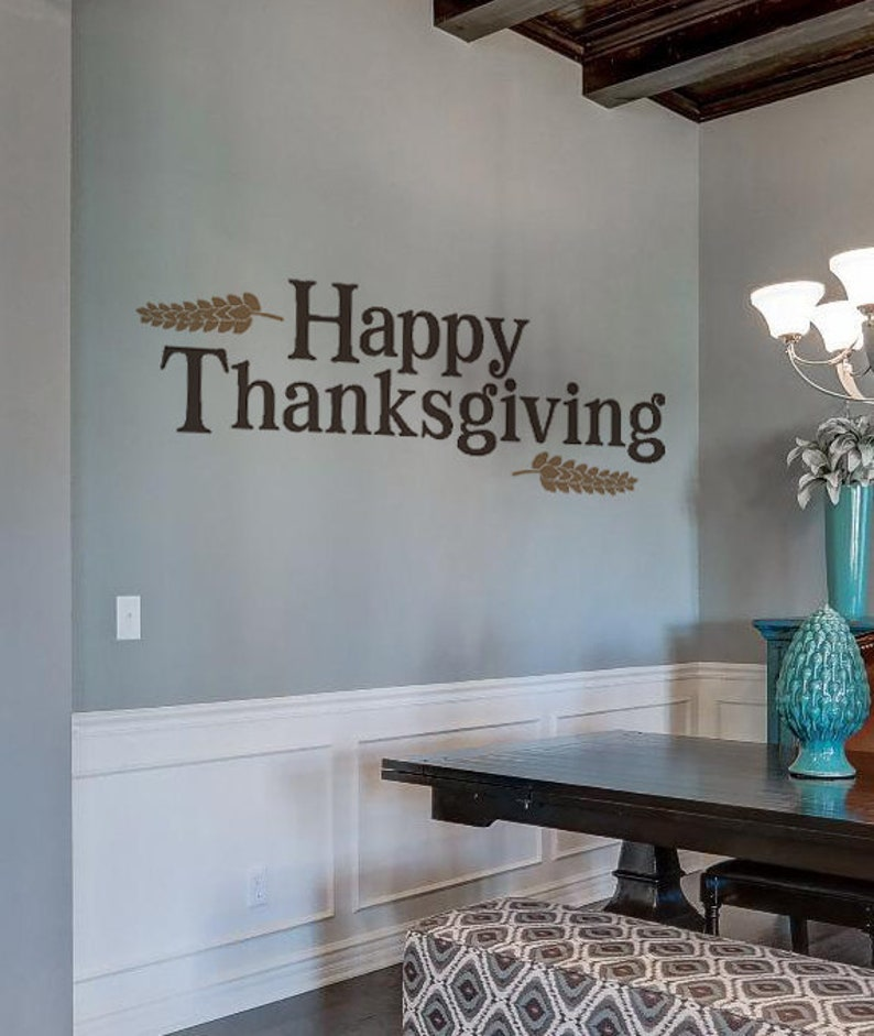 Happy Thanksgiving  Vinyl Wall Decal Holiday wheat barley image 0