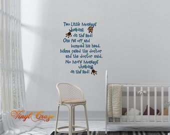 Two Monkeys Jumping on the Bed, No More Jumping on the Bed, Nursery Rhyme - Vinyl Wall Decal Gift, nursery, playroom, children's room