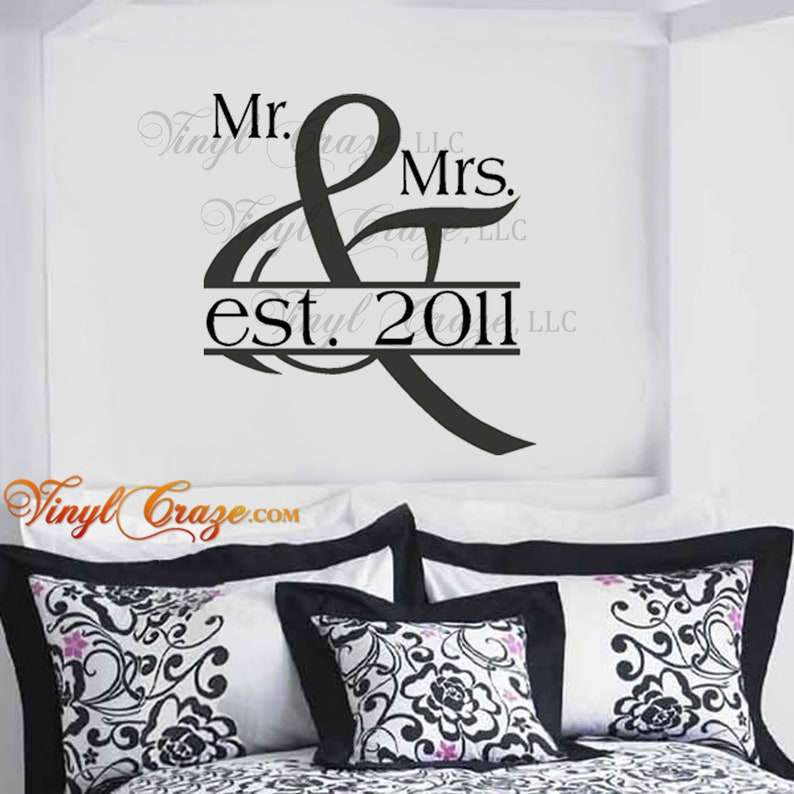 Mr. & Mrs. with Established Year various font options  image 0