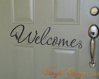 Welcome - Saying/Quote Vinyl Wall Decal  Door Flourish