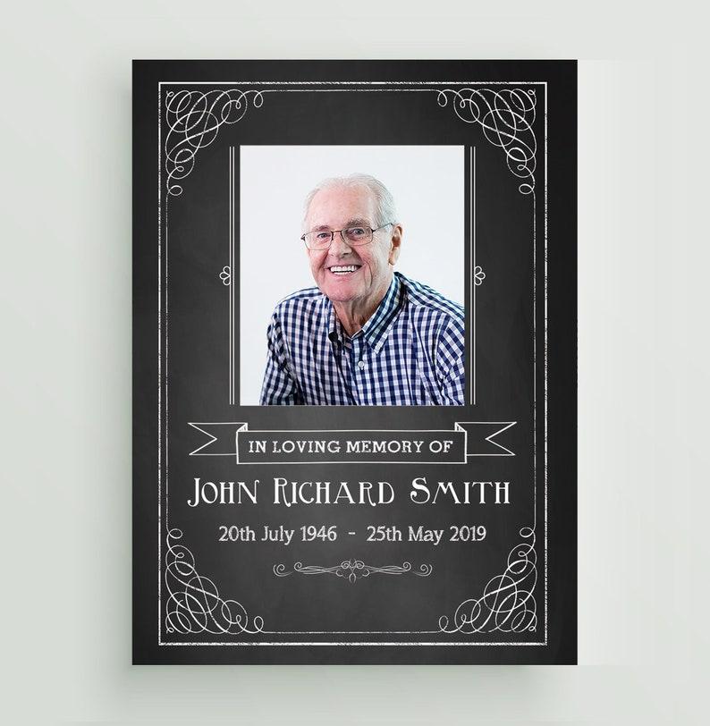 Photo Memorial Small A7 Keepsakes Prayer Personalised Printed Classic Black Chalkboard Funeral Poem Cards