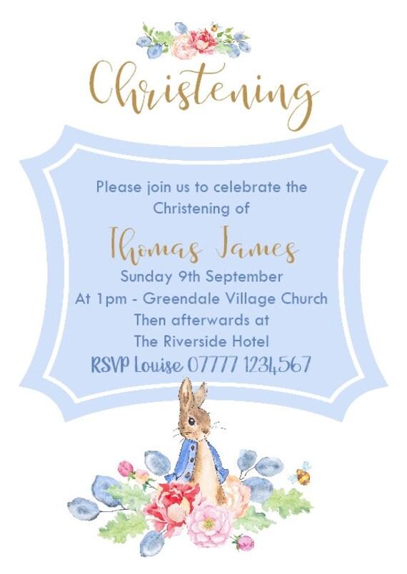 10 Personalised Peter Rabbit Christening Baptism Naming Day Invites Invitations